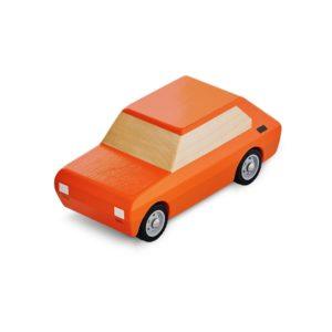 Mały Fiat drewniany pomranczowy
